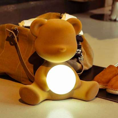 Teddy Girl Lamp Velvet Finish with Rechargeable Led photo gallery 2