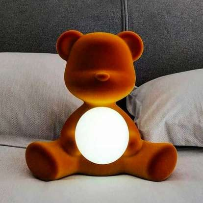 Teddy Girl Lamp Velvet Finish with Rechargeable Led photo gallery 4