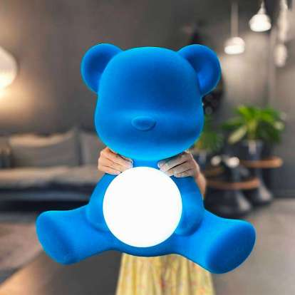 Teddy Girl Lamp Velvet Finish with Rechargeable Led photo gallery 6