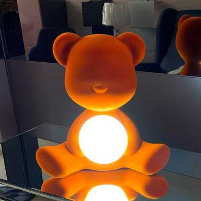 Teddy Girl Lamp Velvet Finish with Rechargeable Led photo gallery 8